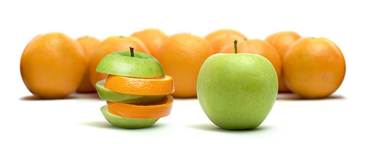 Similes and metaphors: like apples to oranges.